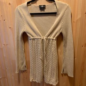 Ribbed and lace tie sweater (Size medium)